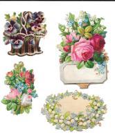 4 Motifs Floraux Pour Création De Carte - Flowers