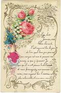 Superbe Lettre De Voeux Gaufrée à Système, Découpi à Tirette, Fleurs (roses, Muguet, Violettes), Main  LIEGE 1911 - Fleurs