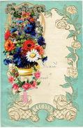 Superbe Lettre De Voeux Gaufrée à Système, Découpi à Tirette, Fleurs  LIEGE 1943 - Fleurs