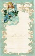 Superbe Lettre De Voeux Avec Découpi Ange, Fleurs  LIEGE 1944 - Anges