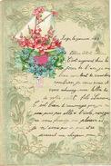 Superbe Lettre De Voeux Gaufrée à Système, Découpi à Tirette, Bateau à Voiles, Fleurs,  LIEGE 1909 - Découpis