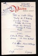 1957, MENU , ILLUSTRE A LA MAIN: BATEAU, SIGNATURES AU VERSO - Menus