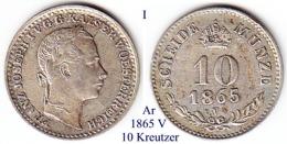 I-1865 V,  10 Kreutzer, Venedig - Lombardie-Vénétie