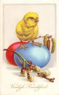 CP - Fantaisie Fantasie - Vrolijk Pasen - Paques - Easter -kuiken Met Ei - Ostern
