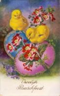 CP - Fantaisie Fantasie - Vrolijk Pasen - Paques - Easter - 2 Kuikens Met Ei - Ostern