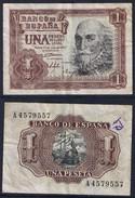 Banknote SPAIN 1 Peseta 1953 VF S/N A4579557 - ESP#001 - [ 3] 1936-1975 : Regency Of Franco