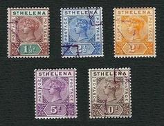 ST.HELENA 1890-97 - Queen Victoria - Scott SH 42-46 - Isola Di Sant'Elena