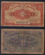 Banknote HONG KONG 10 Cents 1941 Fair S/N A4002311 - HKG#003 - Hong Kong