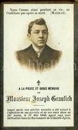 Doodsprentje / Avis De Décès / Joseph Graulich / Doornik / 1906 / 2 Scans - Images Religieuses