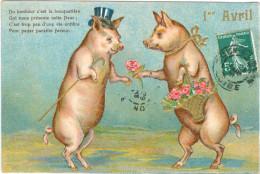Relief - Gaufrée - Embossed - Prage - Cochons - TBE - Schweine