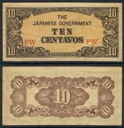 Banknote PHILIPPINES 10 Centavos 1942 Fine S/N PW JPN-G#009 - Philippines