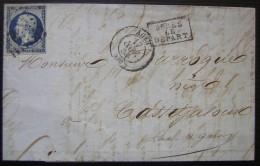 1856 N°14 Sur Une Lettre D'Agen Pour Casteljaloux : Bleu Noir ? - Postmark Collection (Covers)