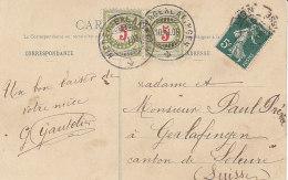 Paire Du Timbre Taxe 5cts Sur Carte Postale De France,de 1908 - Taxe