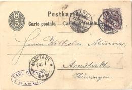 PK 12  Basel - Arnstadt D           1883 - Interi Postali