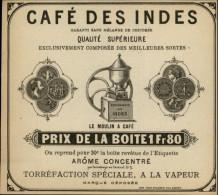 CAFE - Etiquette De CAFE DES INDES  - Compagnie Des Indes - Moulin à Café - Publicité