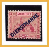 Sar0088 Sarre 1922 SAAR Servizio Official Stamp Overprint Scott. 8 ** Saargebiet Dienstmarke - Servizio