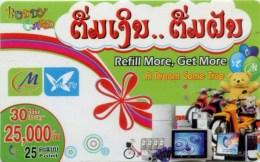 Mobilecard Laos - Werbung (4) - Teddy , TV , Moped - Laos
