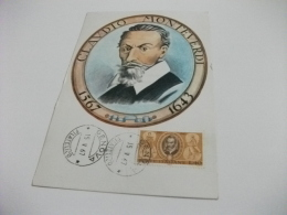 STORIA POSTALE  FRANCOBOLLO COMMEMORATIVO C. MONTEVERDI  ITALIA MAXIMUM - Chanteurs & Musiciens