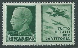 1942 REGNO PROPAGANDA DI GUERRA 25 CENT MNH ** - CZ18-8 - 1900-44 Victor Emmanuel III.