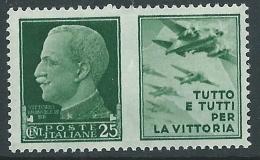 1942 REGNO PROPAGANDA DI GUERRA 25 CENT MNH ** - CZ18-9 - 1900-44 Victor Emmanuel III.