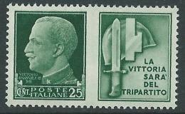 1942 REGNO PROPAGANDA DI GUERRA 25 CENT MNH ** - CZ17-2 - 1900-44 Victor Emmanuel III.