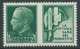 1942 REGNO PROPAGANDA DI GUERRA 25 CENT MNH ** - CZ17-3 - 1900-44 Victor Emmanuel III.