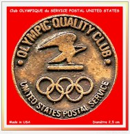 SUPER PIN´S OLYMPIQUE : La POSTE UNITED STATES Sponsor JO Alberville 92 En Zamac Or Vieilli - Olympische Spelen