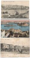 3 POST CARD OF MALTA - SLIEMA , VIEW OF VALLETTA , GRAND HARBOUR . - Malta