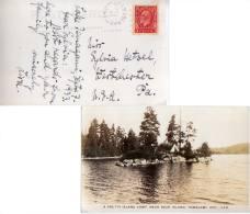 3c KGV Medallion 1933 Bear Island, Ont. Split Ring PPC (Real Photo - A Pretty Island Camp, Near Bear Island, Temag... - 1911-1935 Reign Of George V