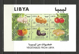 2014- Libya- Vegetables Potato Tomato Onion Pepper Garlic Agriculture – MinisheetMNH** - Agricultura