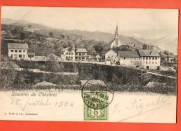FIC-22  Souvenir De Chexbres. Cachet Frontal 1906. Précurseur - VD Vaud