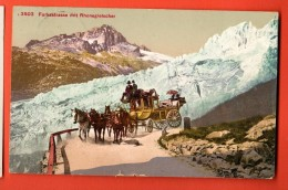 FIC-24 Furkastrasse Abfahrt Der Post, Diligence De La Poste. Rhonegletscher.  Gelaufen In 1911 - VS Valais