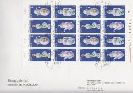 DDR 2464 - 2467, Kleinbogen FDC, Meissener Porzellan 1979