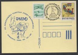 JUDO - ARTS MARTIAUX / 1989 - HONGRIE OBLITERATION ILLUSTREE SUR CARTE  (ref LE800)
