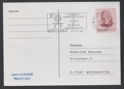 JUDO - ARTS MARTIAUX / 1992 - MONACO OBLITERATION ILLUSTREE SUR CARTE  (ref 1142)