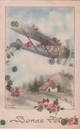 Illust . HANNES PETERSEN .   Enfants Dans Aéroplane Jetant Des Roses . Bonne Fête - Petersen, Hannes
