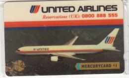 UK(GPT) - United Airlines(MER331, 1 Pound), Mercury Telecard, CN : 20MERB(WC), Tirage %7000, Mint - Vliegtuigen