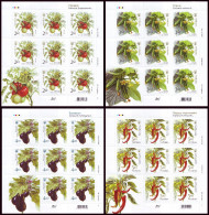 UKRAINE 2016. VEGETABLES. Set Of 4 Self-adhesive Stamps In Mini-Sheets Of 8 X Mi-Nr. 1571-74. MNH (**) - Vegetazione