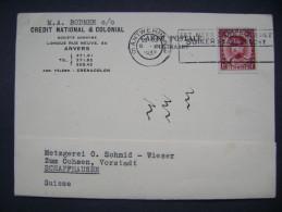 Belgium: PC 1933 Credit National & Colonial Anvers - Schaffhausen/Switzerland - 1 F, Postmark Antwerpen, EET MEER SUIKER - Belgium