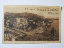 ADVERTISEMENT POSTCARD GRAND HOTEL & EUROPA RAPALLO 1929 - Italia