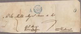 O) 1856 CUBA-CARIBE, PRESTAMP BAEZA GUINES IN BLUE, COVER TO HAVANA, XF - Cuba