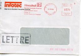 EMA Industrie Chimie,pharmacie Société Française HOECHST,Infotec,92 Paris La Défense,lettre Puteaux 10.10.1984 - Fabriken Und Industrien