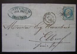1867 Lettre De Chartres , Maison Becquet Et Fleury Laines Brutes, Pour Elbeuf - Postmark Collection (Covers)