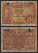 Banknote MALAYA 20 Cents 1941 Poor S/N None MYS#006 - Malaysia