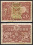Banknote MALAYA 20 Cents 1941 Fair S/N None MYS#007 - Malaysia