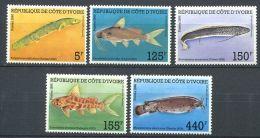 178 COTE D IVOIRE 1986 - Yvert 763/67 - Poisson - Neuf ** (MNH) Sans Charniere - Ivory Coast (1960-...)