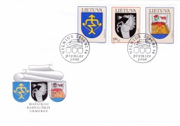 Litauen, 2004, 838/40, Stadtwappen(XIII). FDC - Lituanie