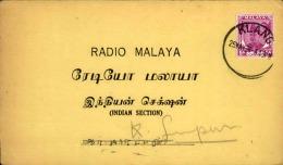 GRANDE BRETAGNE / MALAISIE - Carte De Radio De Klang En 1956 - A Voir - L  4175 - Malayan Postal Union