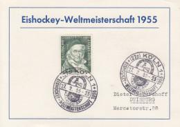 EISHOCKEY-ICEHOCKEY-HOCKE Y SUR GLACE-HOCKEY SU GHIACCIO, W. GERMANY, 1955, Special Stamp/postmark !! - Hockey (su Ghiaccio)