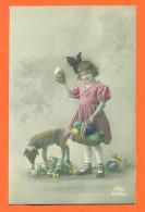 "CPA Paques "" Petite Fille Et Mouton  "" - Easter"
